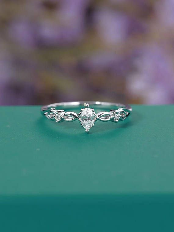 Photo of Vintage Moissanite Engagement Ring White Gold Women, Unique Marquise cut Simple Ring, Art deco Bridal set Diamond, Anniversary Gift for her