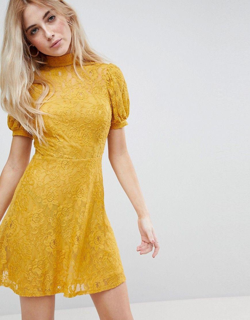 ASOS - Spitzen-Minikleid mit Puffärmeln - Gelb Jetzt bestellen unter ...