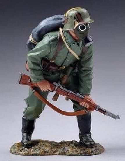 World War 1 German Army GW046A Storm Trooper wearing Gas Mask At the Ready…