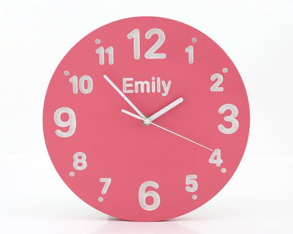 Wall Clock For Kid S Room With Your Choice Of Words On It Pink Color Birch Wood Hand Painted Clock For Kids Clock Wall Clock