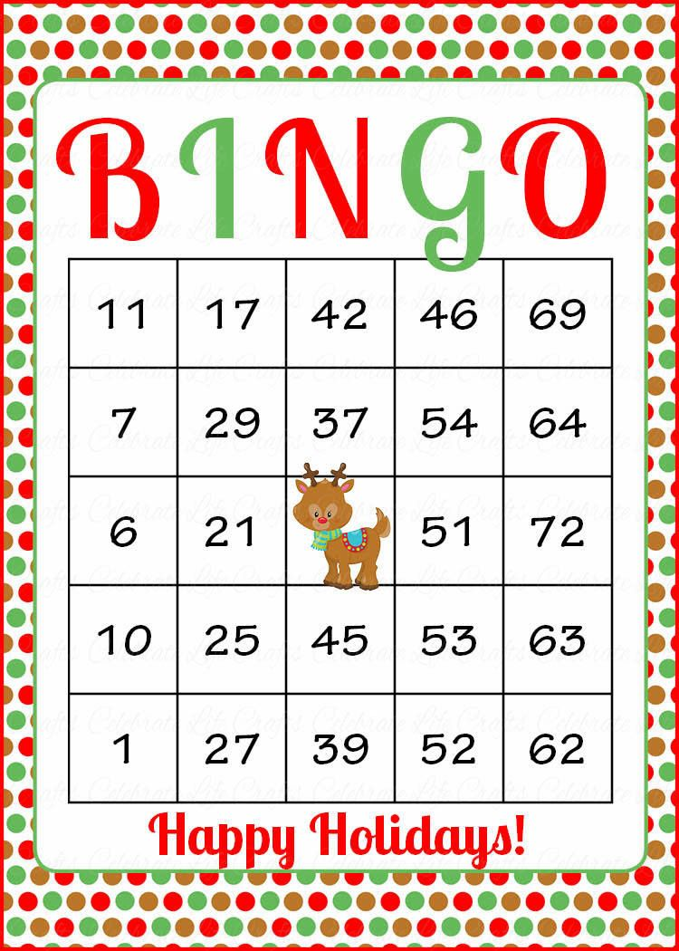 photograph about Christmas Bingo Card Printable named Xmas Bingo Playing cards - Printable Down load - Prefilled