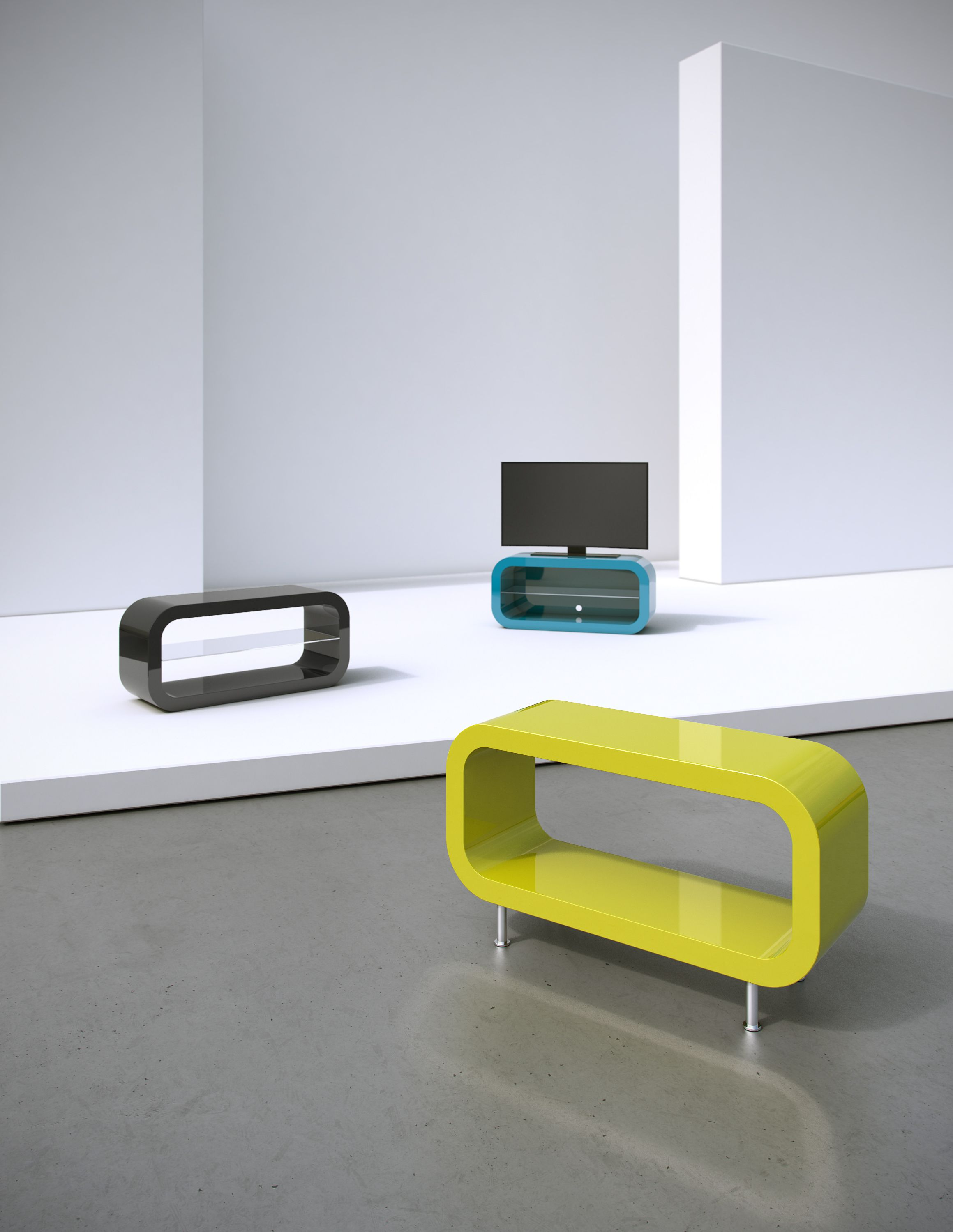 Tables From Zespoke In Teal Black And Lime Green The Name Comes A Mix Of Hoop Rectangle Its Versatile Piece That Can Be Used As Tv Stand