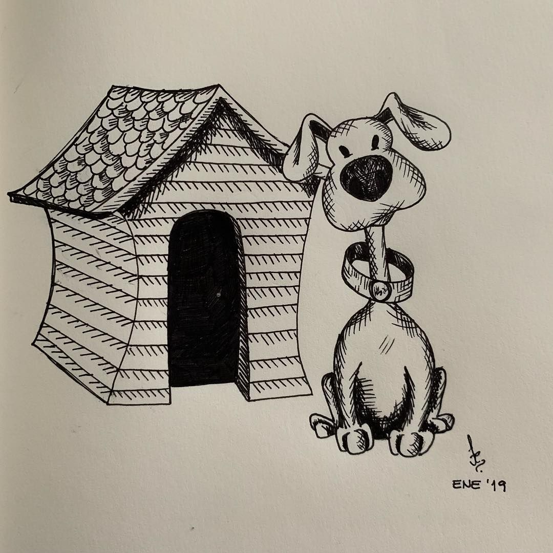Doggy Drawing Draw Sketch Sketchbook Dog Doghouse Ink