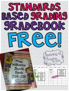 Standards Based Grading Gradebook for 5th Grade Common Core...FREE