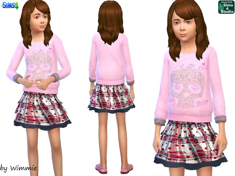 Sims 4 - Sweatshirt and skirt for girls
