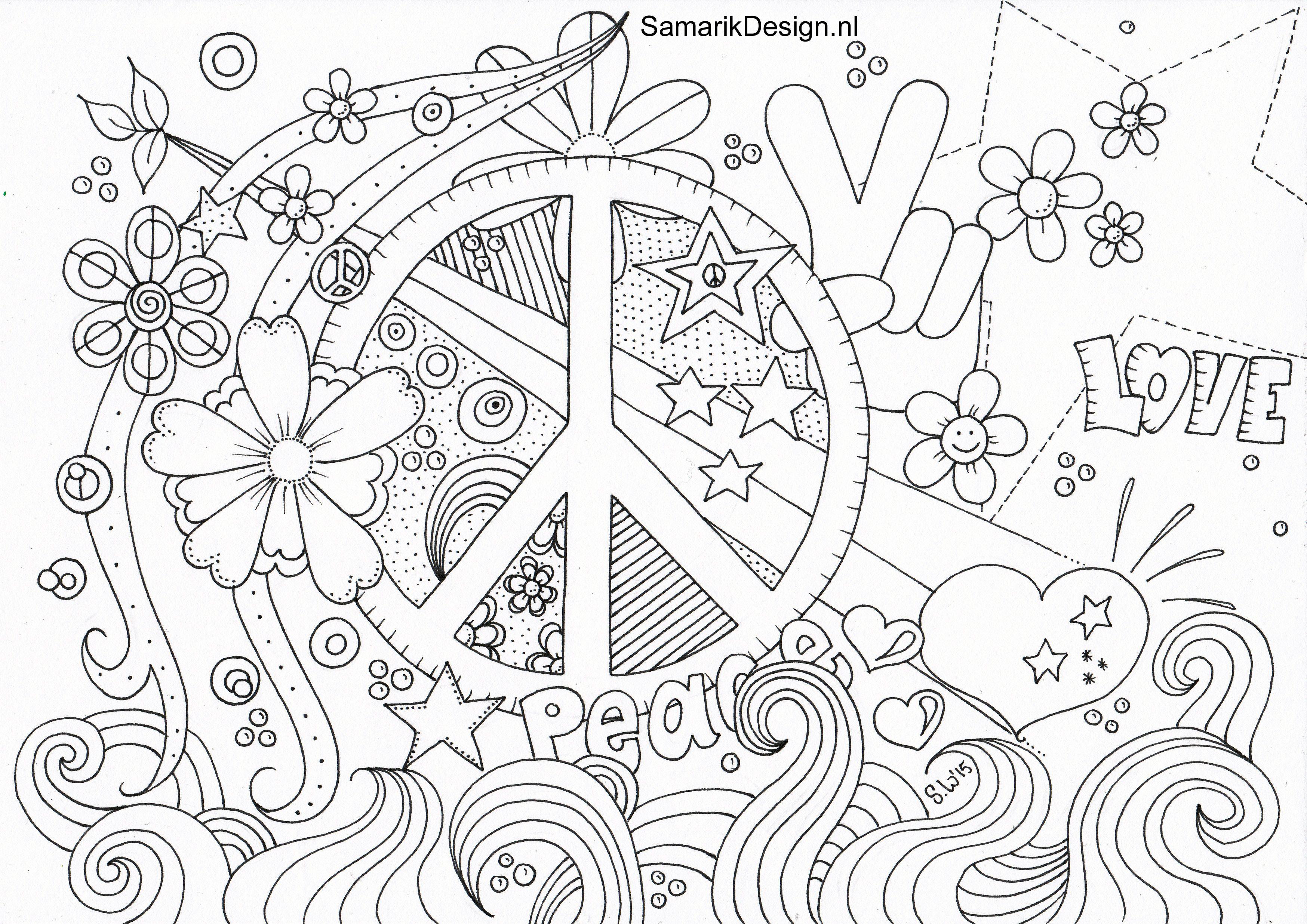 kleurplaat voor volwassenen. peace  love coloring pages
