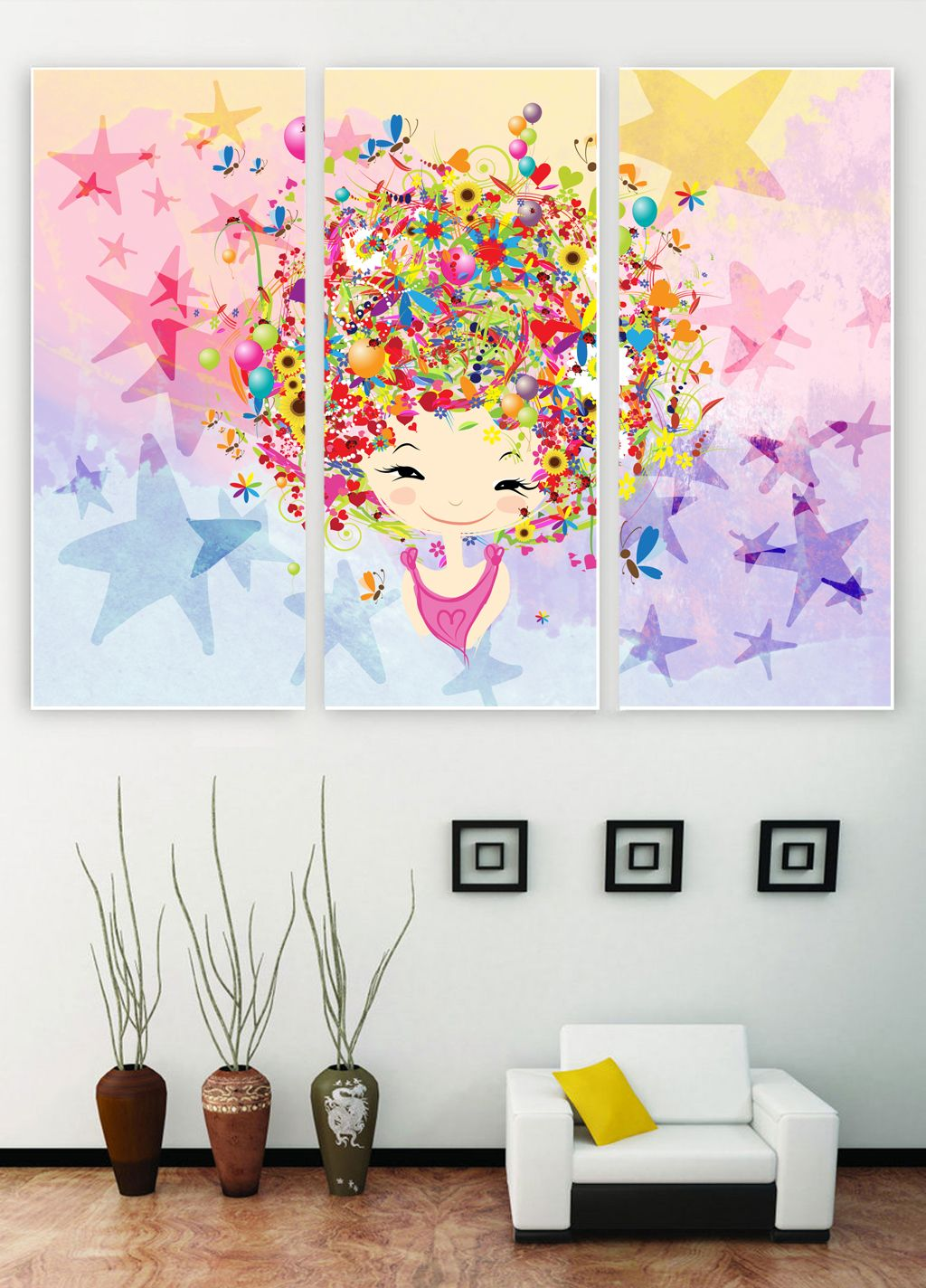Colourful Girl Poster Design Psd Template Decorative Girl