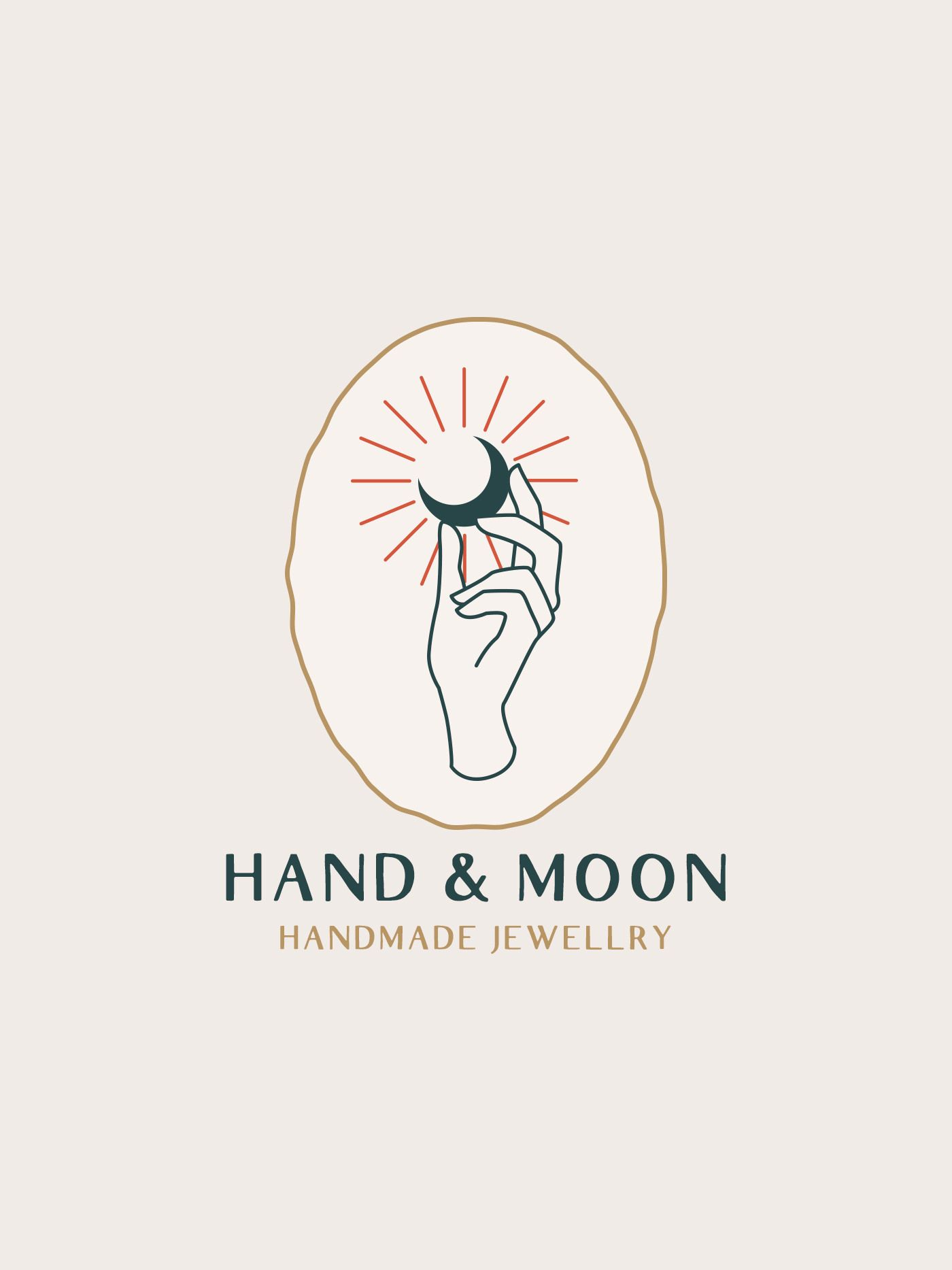 Photo of Hand and moon logo design for handmade jewelry.