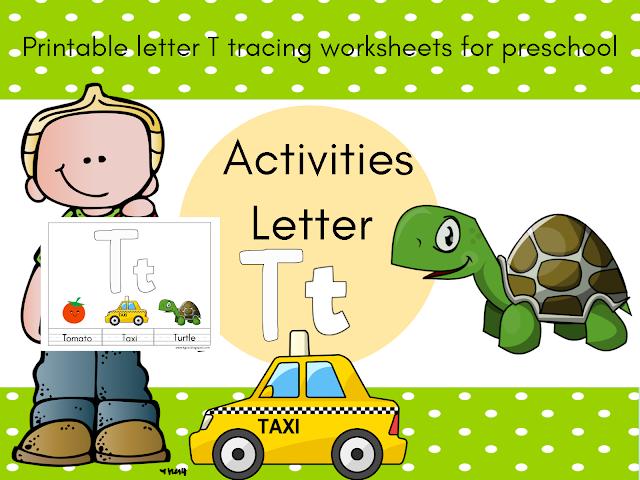 أوراق عمل حرف T T مع الكلمات التي تبدأ به والترجمة بالعربية Preschool Activities Tracing Worksheets Printable Letters