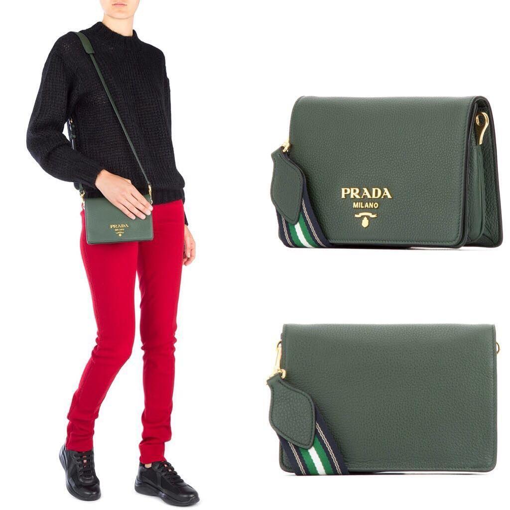3ec9adaa6c9d PO Sale🤩PRADA Daino Flap Bag in Forest Green Grained Leather with  Multicolors Shoulder StrapSize 20cm x 14cm x 7cmIDR 14,000,000