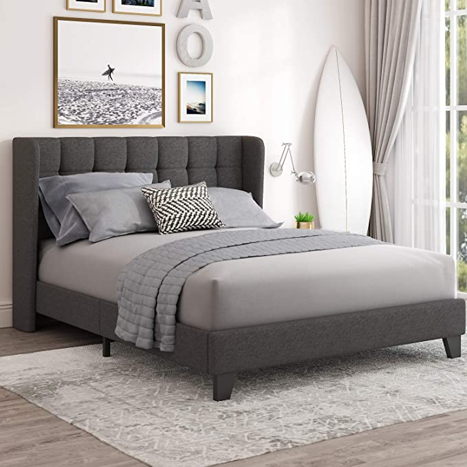 Amazon Com Einfach Full Upholstered Wingback Platform Bed Frame With Headboard Mattress Foundation In 2021 Bed Frame And Headboard Platform Bed Frame Queen Bed Frame Cheap bed frames with headboard