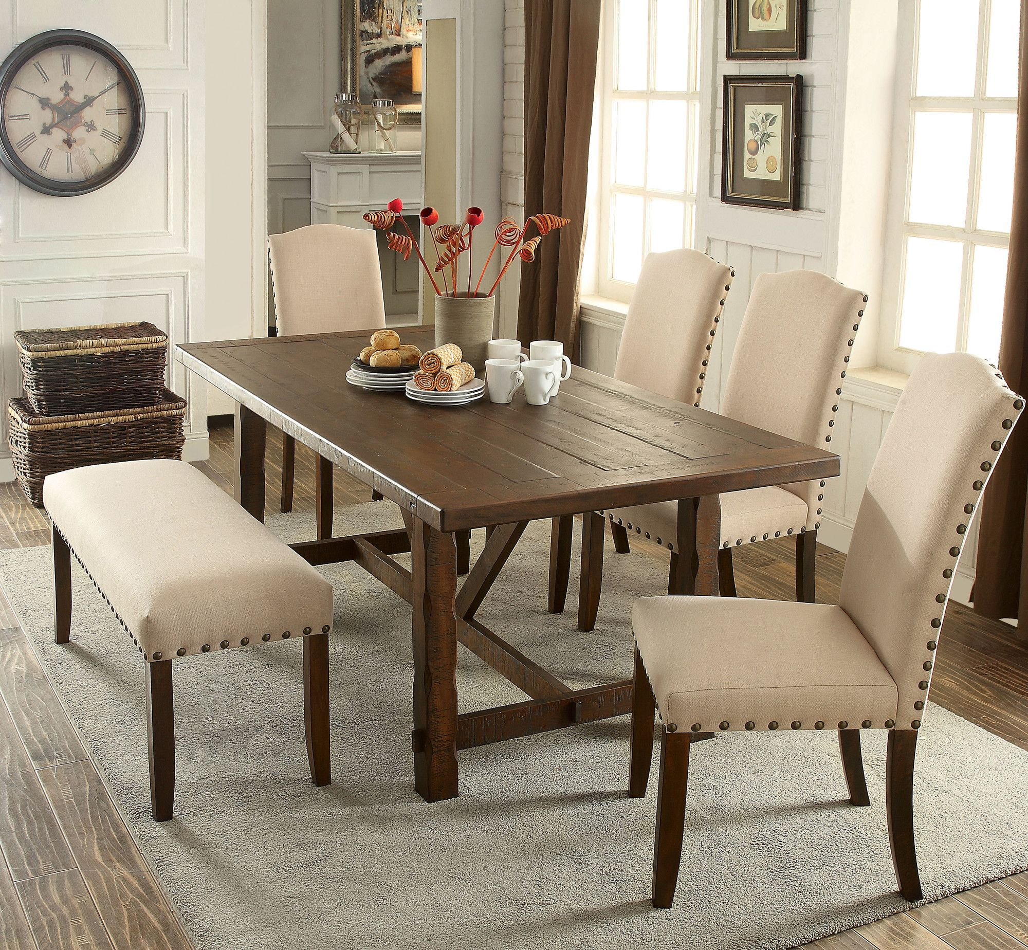 Dining room table with upholstered bench  Holly Hills  Piece Dining Set  furniture  Pinterest  Dining