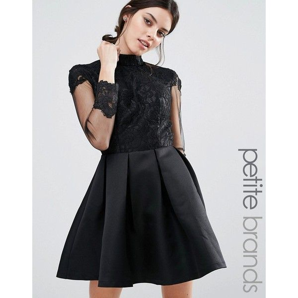 Petite long sleeve lace dress