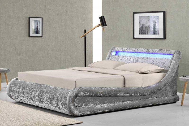 Best Madrid Led Lights Silver Crushed Velvet Fabric Ottoman 640 x 480