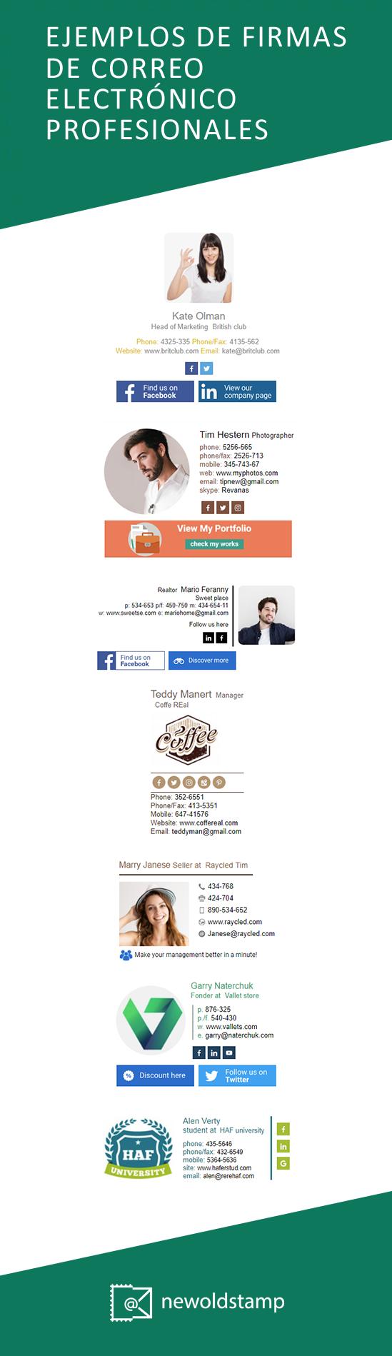 Ejemplos de firmas de correo electrónico profesionales