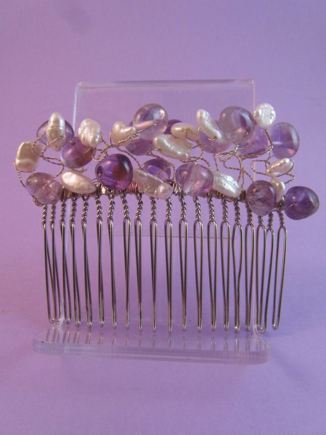 Purple Amethyst and White Pearl Hair Comb £24.00
