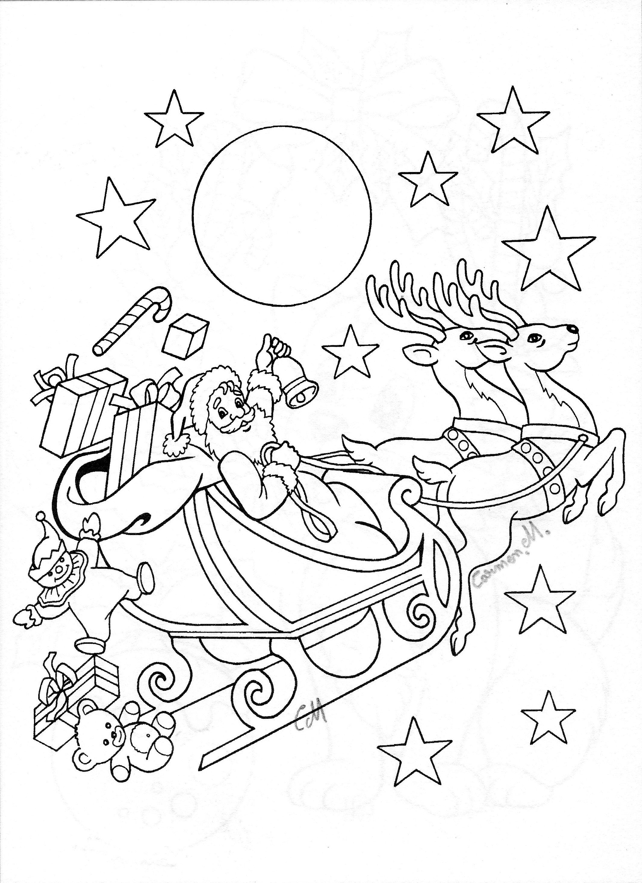 Santa Sleigh | Christmas coloring pages