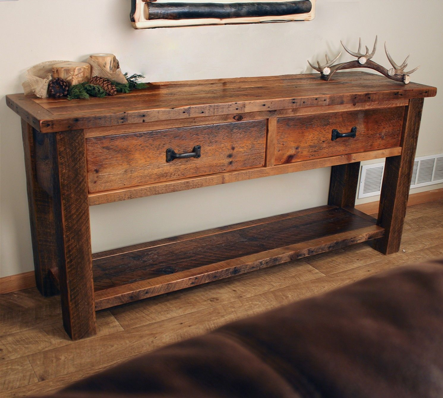 Old Sawmill Timber Frame Sofa Table w Drawers