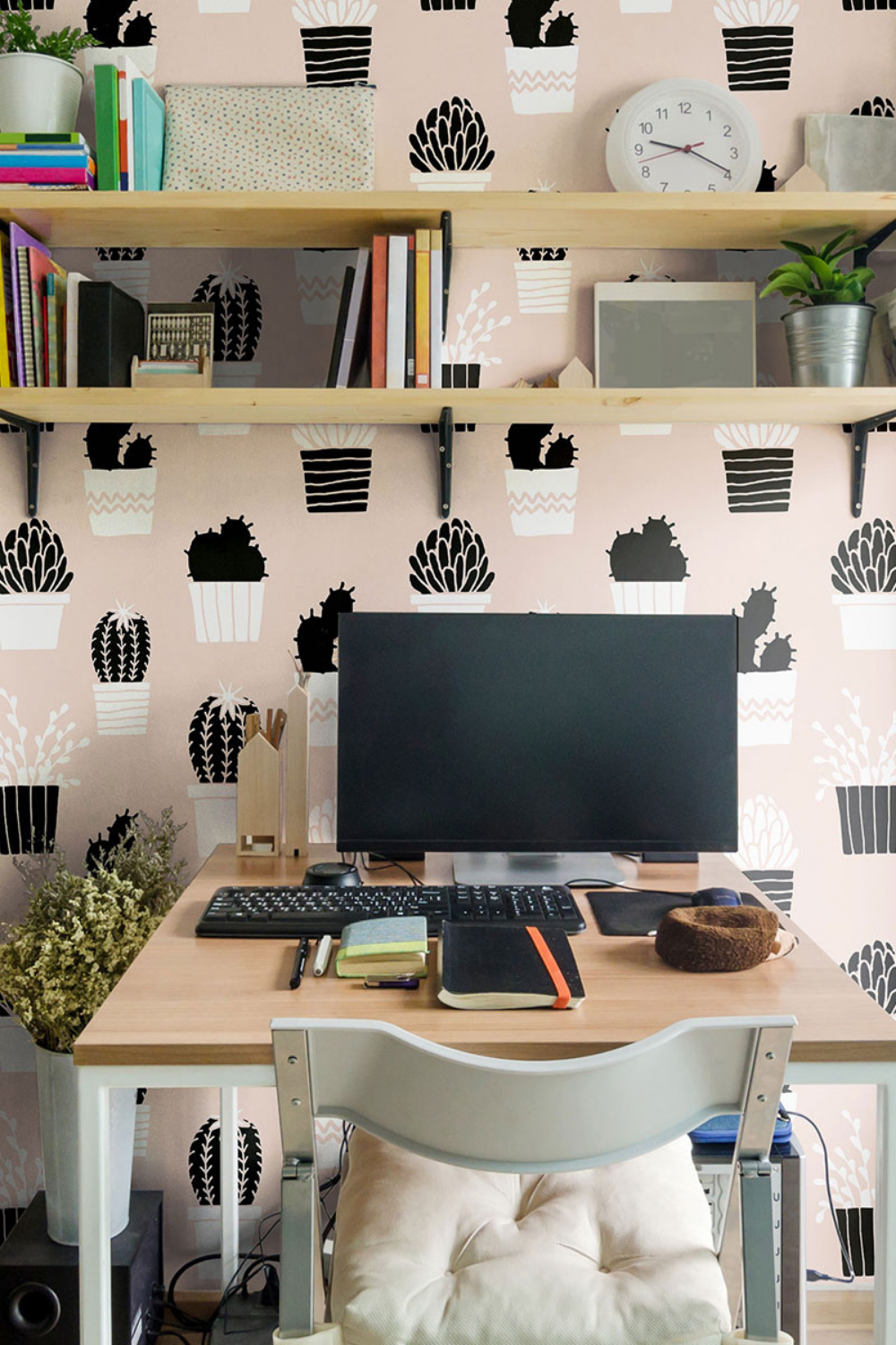 Peach And Black Tropical Peel And Stick Removable Wallpaper 4612 Simple Room Removable Wallpaper Home Office Furniture