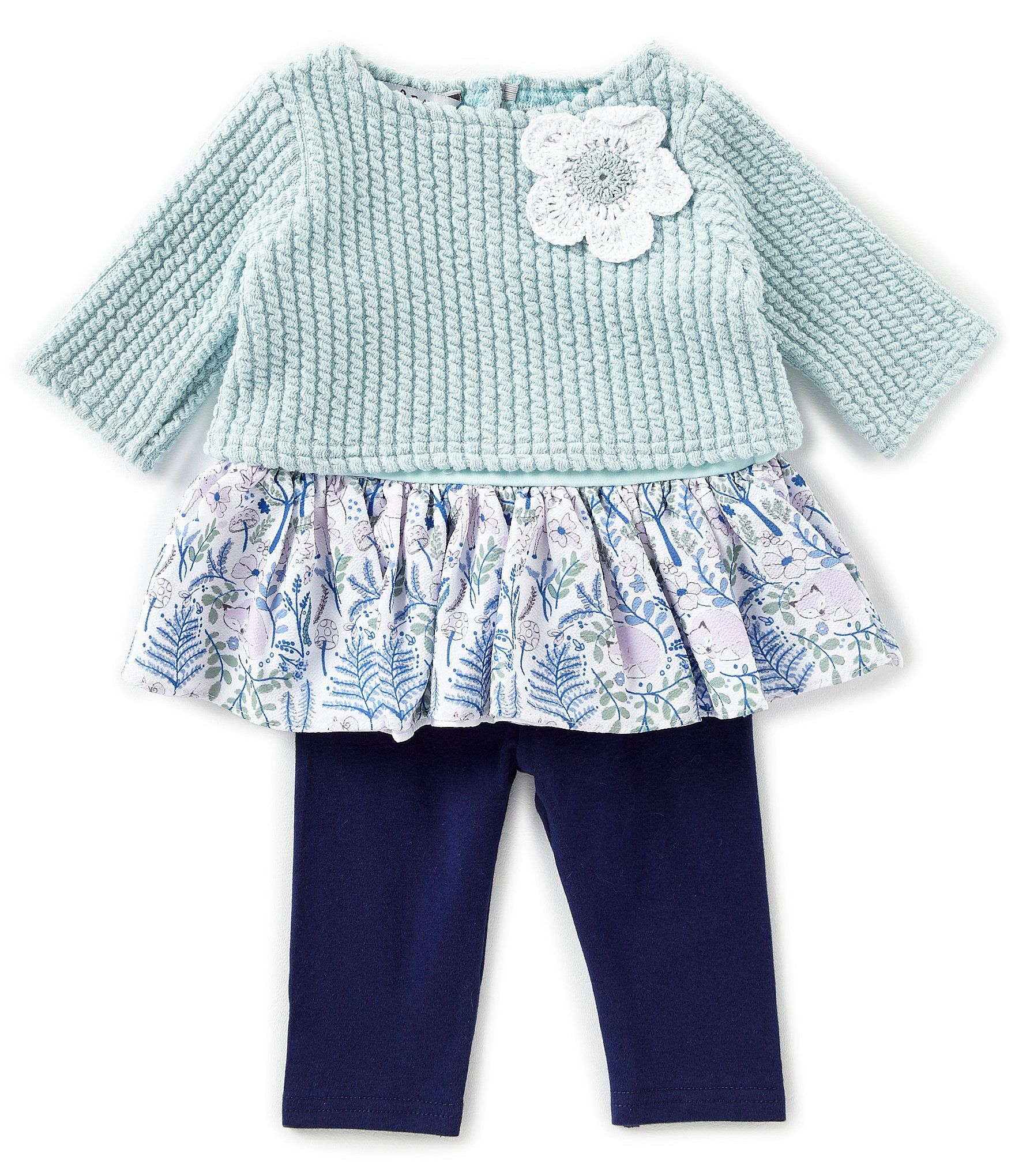 Photo of Pippa & Julie Baby Girls Newborn-9 Months Knit/Floral-Printed Dress & Solid Capri Leggings Set | Dillard's
