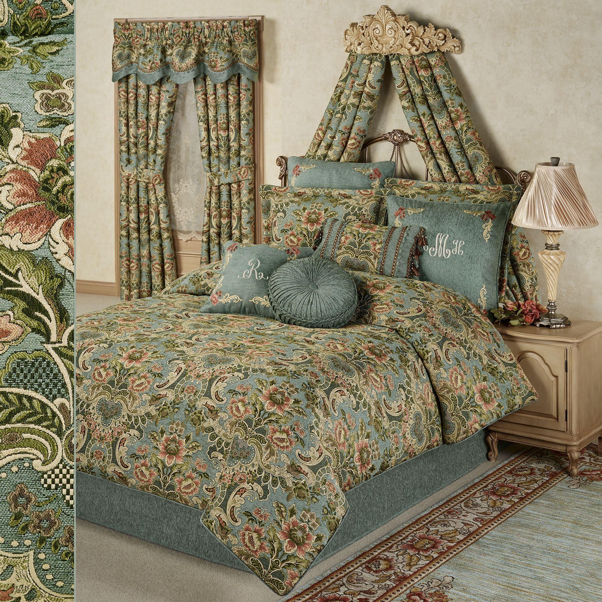 Calais Jacobean Floral Soft Teal Comforter Bedding ...