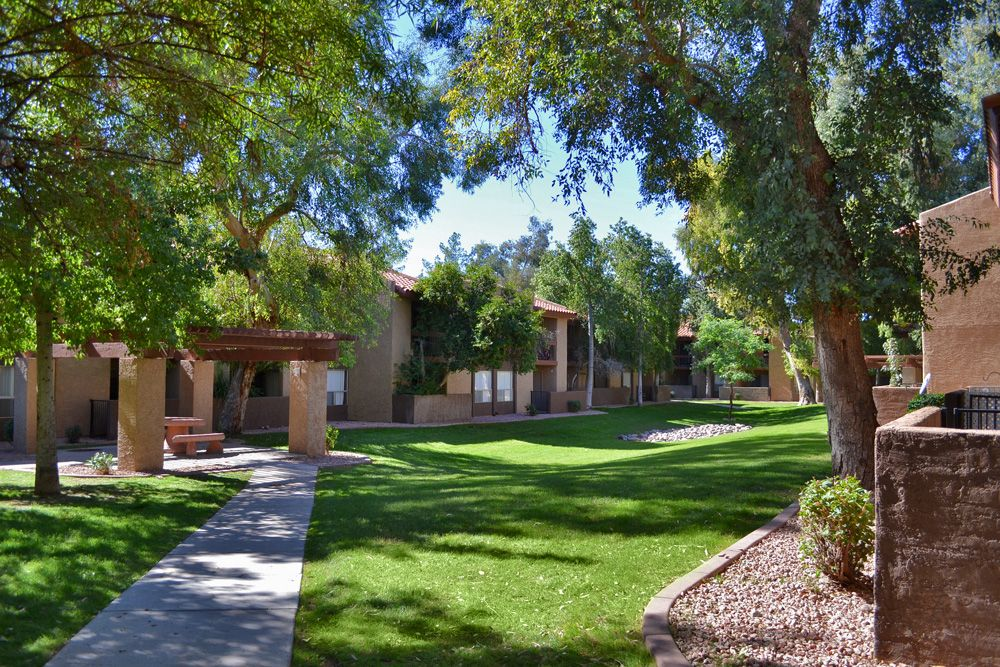 Go For A Walk On The Beautiful Grounds Of Aztec Springs Apartments In Mesa Arizona Mesa Springs Scenery