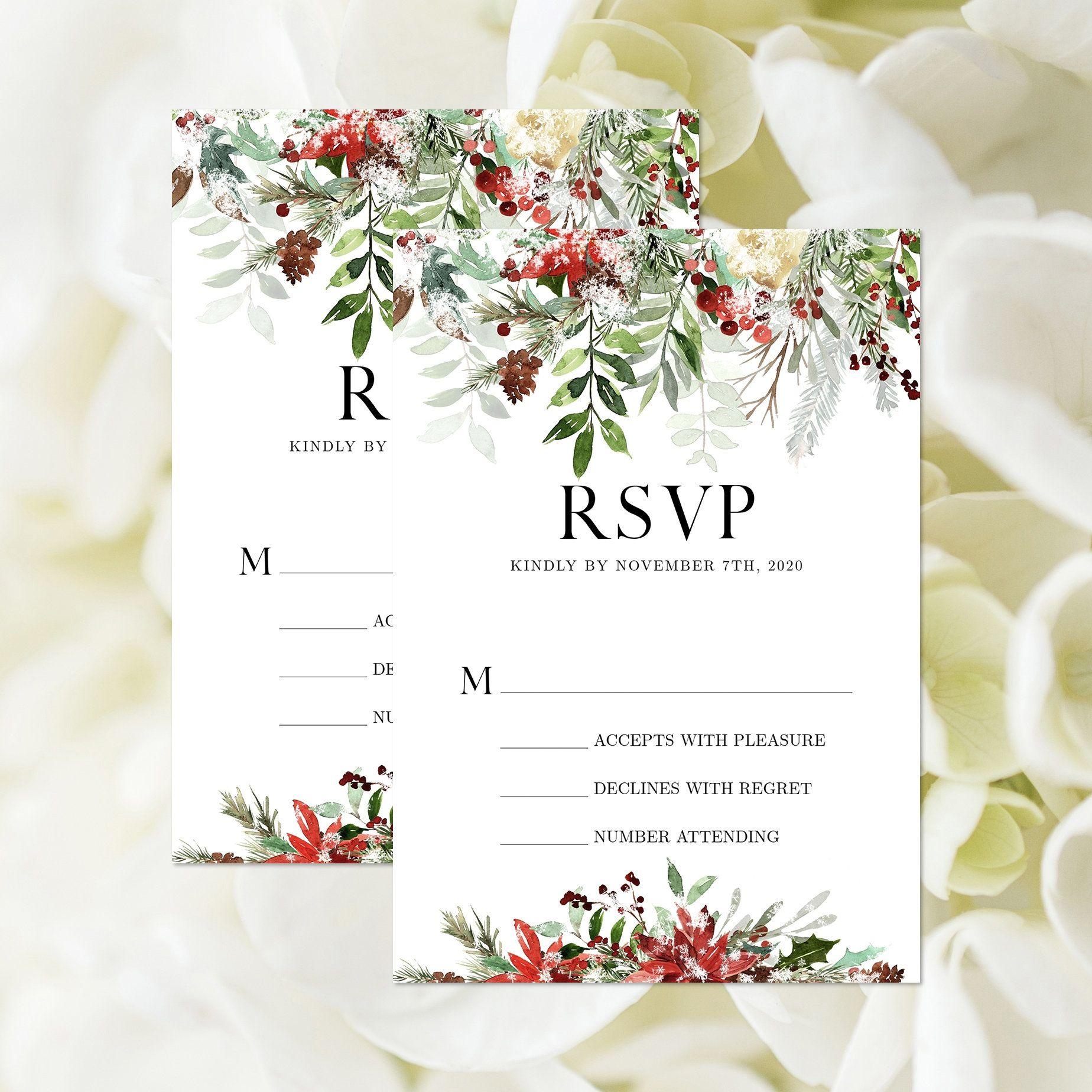 Christmas wedding rsvp card editable template winter