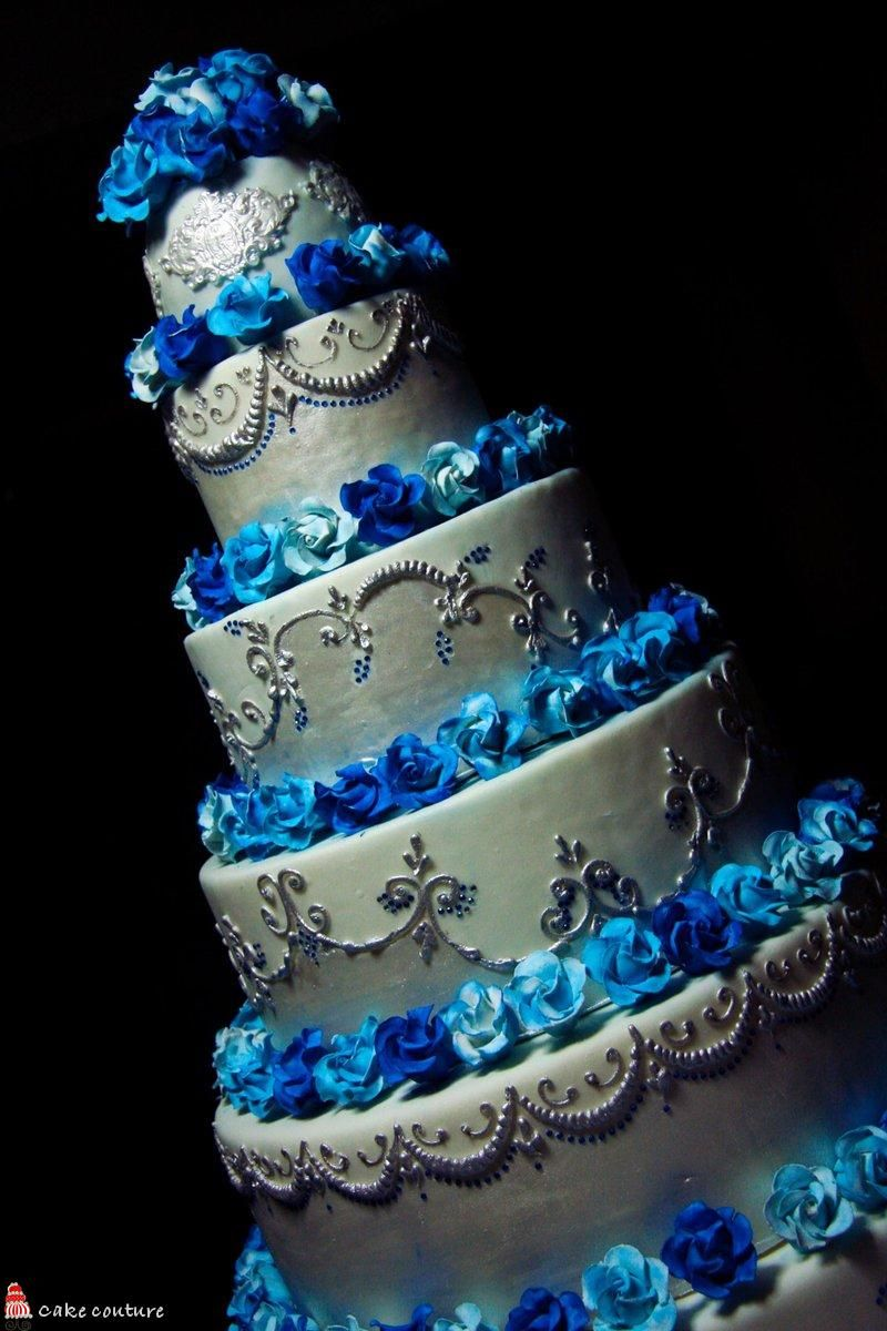 Blue And Silver Decoration Living Room: Blue And Silver Wedding Cakes