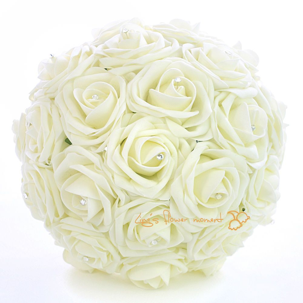 Crystal Diamante Wedding Bridal Bridesmaid Flower Girls Foam Roses Bouquet Posy