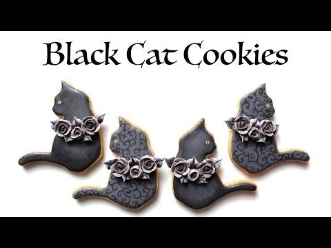 How To Decorate Black Cat Cookies for Halloween! - YouTube