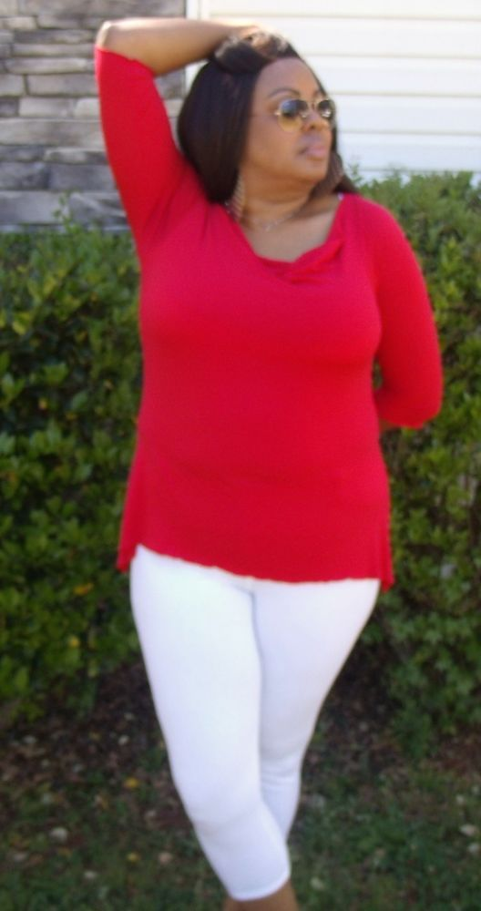 Red Hip Flare Plus Size Top With Back Silver Hardware Design, Size 2xl by Cozy #Cozy #Blouse