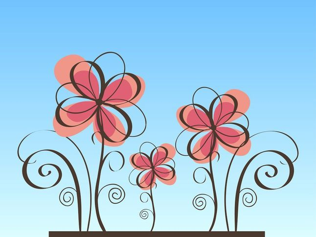 Soft Pink Flowers vector free