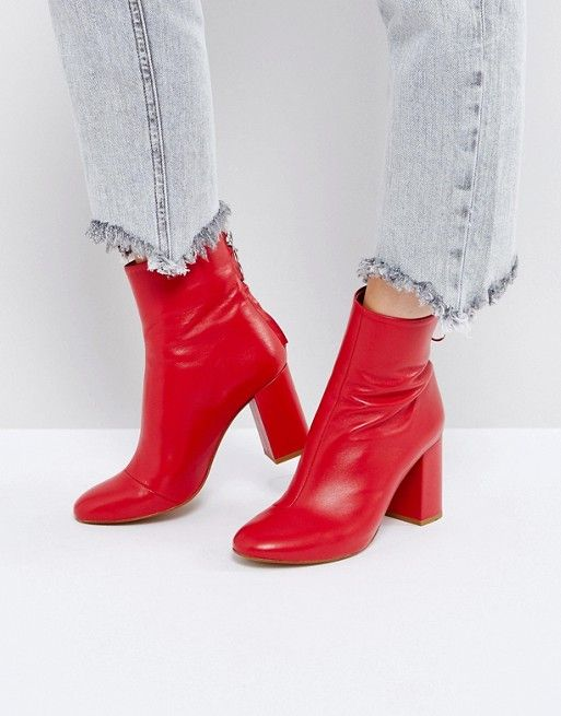 8e4d65826c2 red leather booties pinned by juliabarefoot Red Ankle Boots