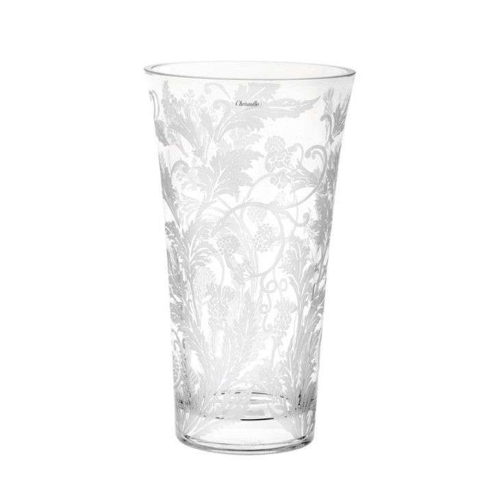 Christofle Marly Vase Etched Crystal Small Round Vase 7 In