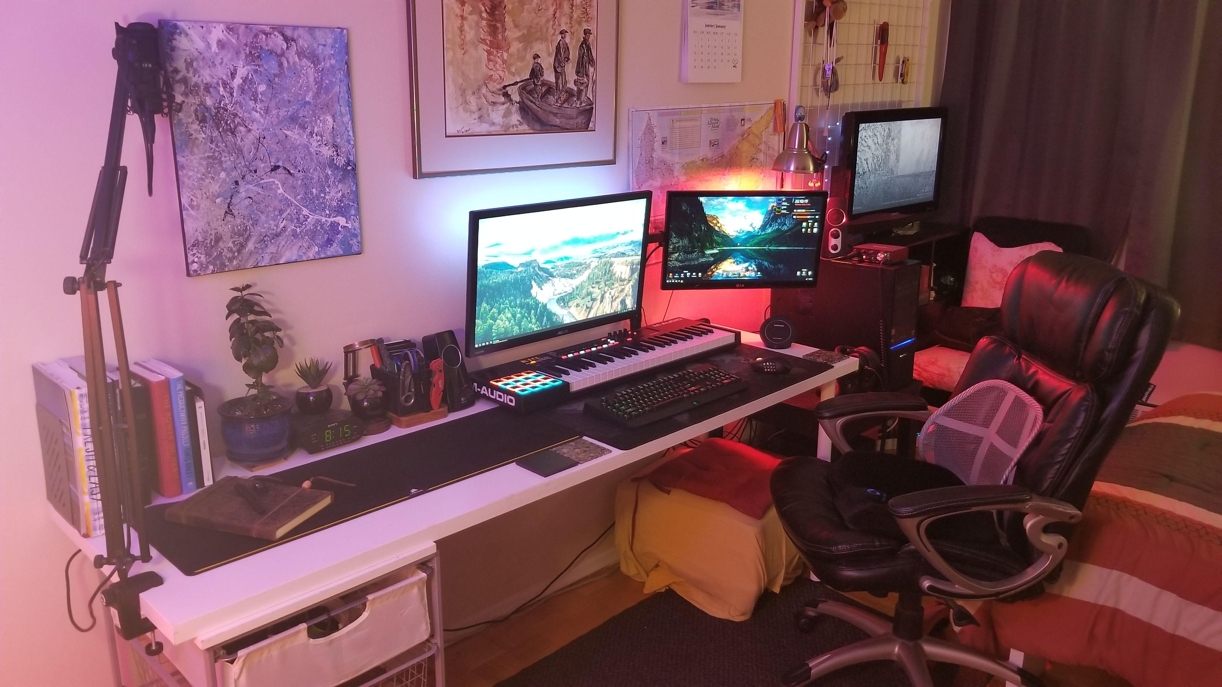My Office Desk Setup Garage Studio Computer Desk Setup