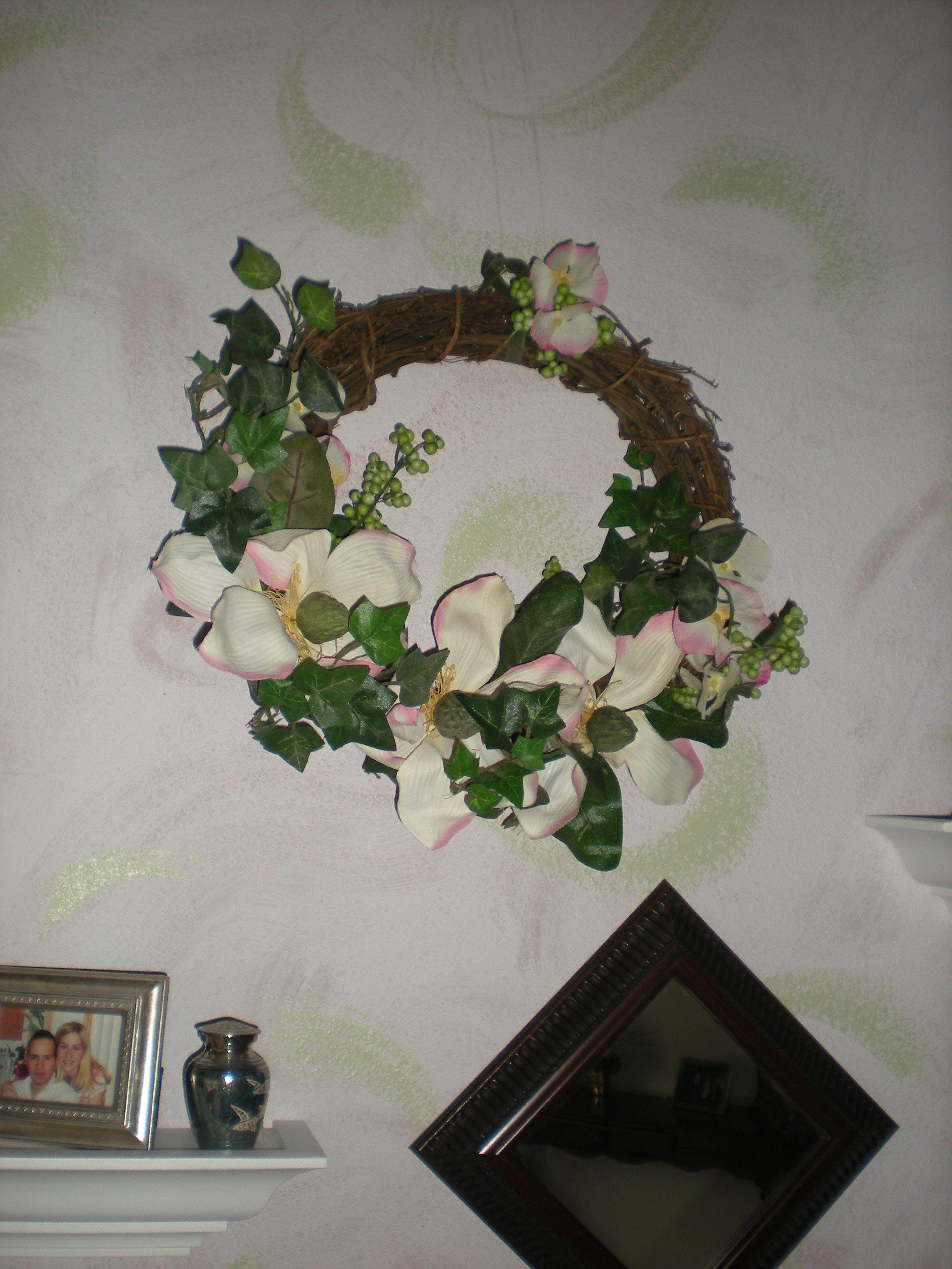 Silk floral wreath.