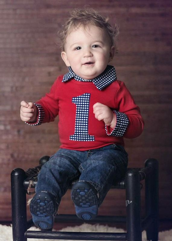 Baby Boy First Birthday Outfit Preppy Collared Onesie Navy Gingham And Red Long Sleeve Button Down With Collar