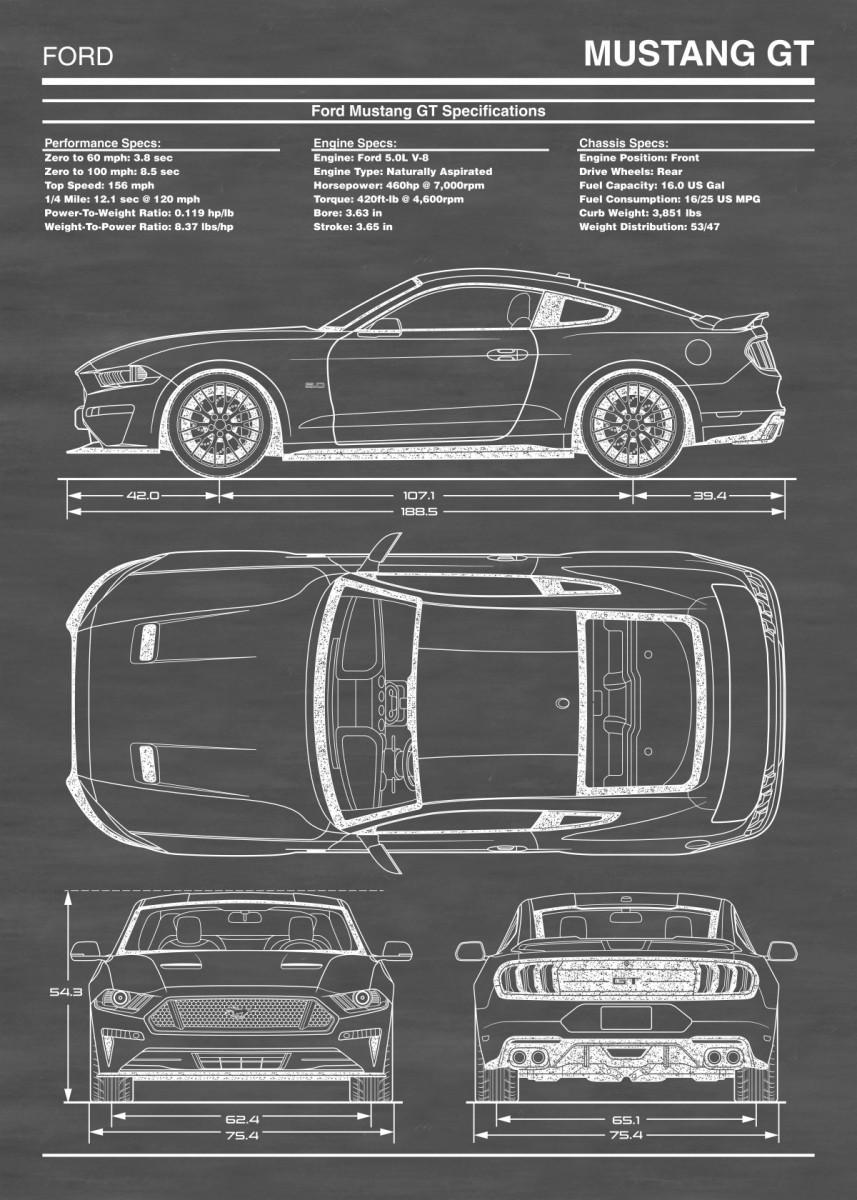 Ford Mustang Gt 2018 2020 Metal Poster Action Blueprint Art Displate In 2020 Ford Mustang Wallpaper Mustang Art Blueprint Art
