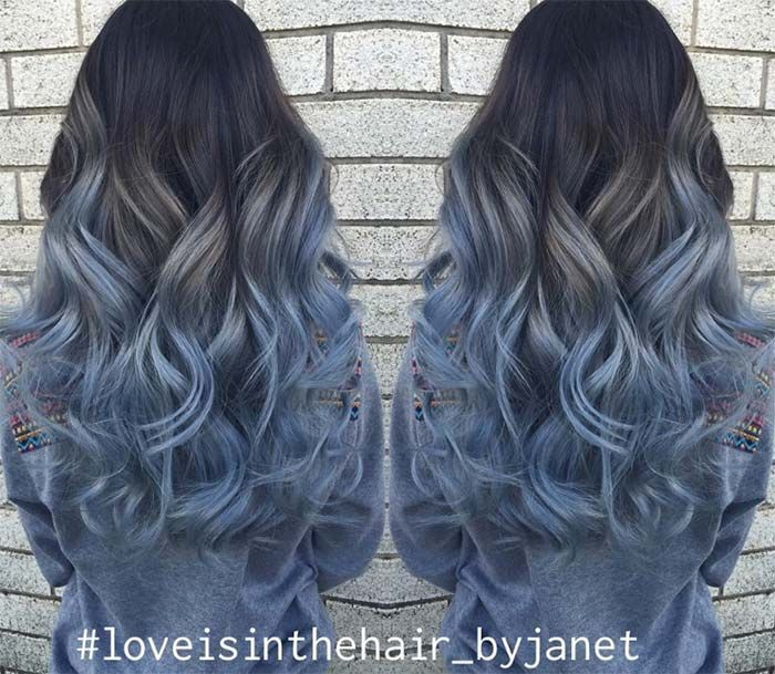 Pin By Mackenzie Richardson On Hair Ideas Denim Hair Hair Color Pastel Blue Ombre Hair