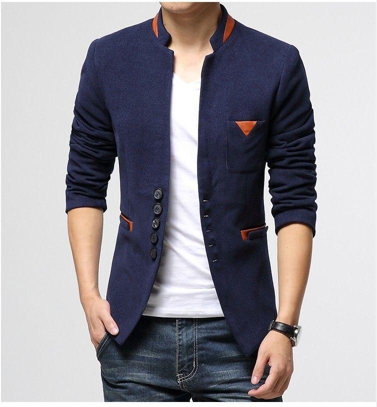 110e36ea79e Blazer Masculino Azul Slim Fit WoolenBlends