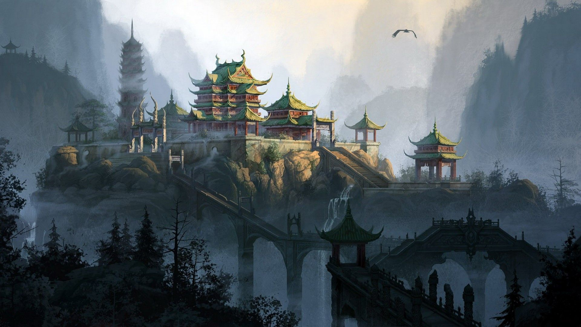 Japan Temple Wallpaper Japanese Landscape Fantasy Art Art Wallpaper