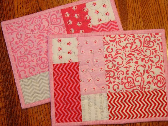 Valentine\'s Day Quilted Mug Rugs Candle Mats Snack by susiquilts ...