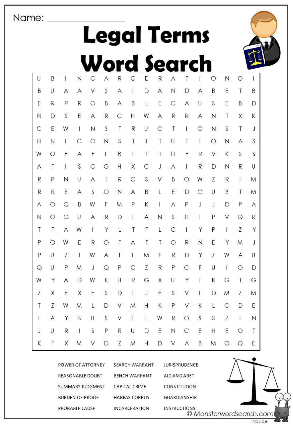 Legal Terms Word Search In