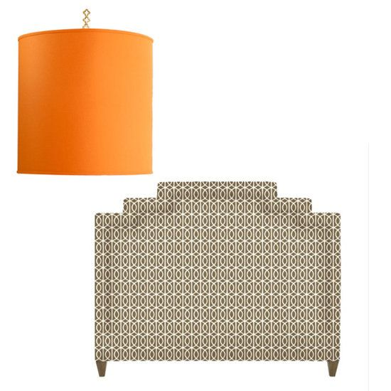 Love the patterned headboard... neutral enough to layer with other patterns in the bedroom.