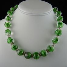 Vintage Art Glass Necklace Green Swirled Beads Rhinestone Spacers