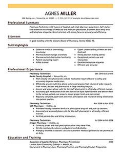 Pharmacy Technician Resume Example  Medical Sample Resumes