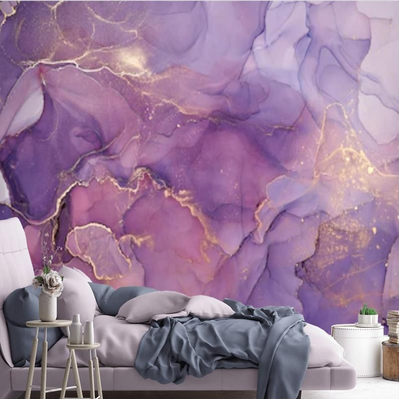 Peel And Stick Purple Gold Abstract Watercolor Wallpaper Mural Removable Large Wall Mural Self Adhesive Custom Vinyl Wallpaper Accent Wall Purple And Gold Wallpaper Large Wall Murals Purple Accent Walls