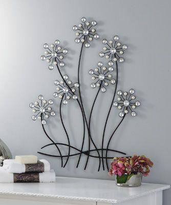 Faux Pearls & Gems Flower Wall Decor Art | Home Decor | Pinterest ...