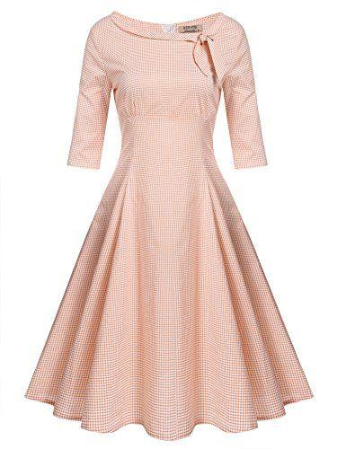 Meaneor Damen Kleid vintage Rockabilly Partykleider halbe Ärmel ...