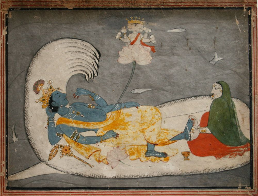 Indian Miniature Paintings - Pahari, Kulu circa 1800. Vishnu in cosmic sleep on on serpent Sheshanaga